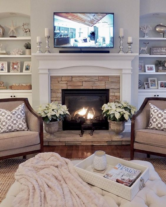 Traditional Fireplace with Rock Boarder