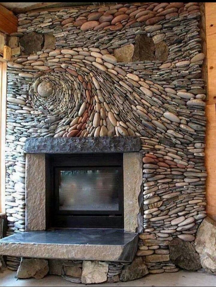 Twisted River Rock Fireplace